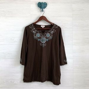 Quacker Factory Brown Turquoise Beaded Knit Top